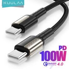 KUULAA Câble USB C vers USB Type C PD 100W 60W Cordon de chargeur rapide pour Samsung MacBook iPad Charge rapide 4.0 Accessoires de fil USBC pour téléphone portable