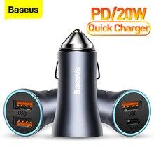Chargeur de voiture USB Baseus PD 20W Charge rapide 4.0 QC 4.0 3.0 USBC Type C chargeur de Charge rapide pour iPhone 12 Pro Max Xiaomi Huawei