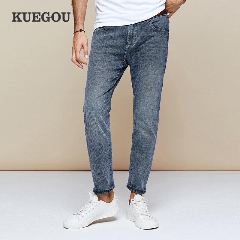 KUEGOU 2019 Autumn Cotton Blue Skinny Jeans Men Streetwear Brand Slim Fit Denim Pants For Male Hip Hop Stretch New Trousers 1782
