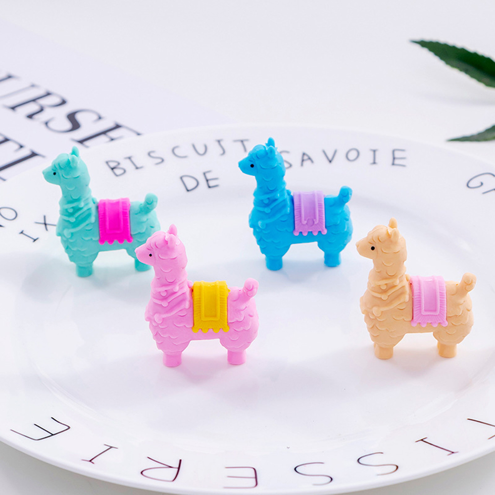 4 Pcs/set Kawaii Mini Colorful Animal Little Alpaca Sheep Removable Rubber Pencil Erasers Stationery Students Gifts