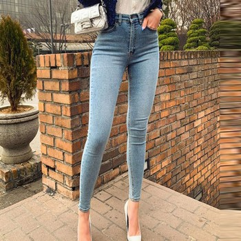 2021 New Fashional Simple And Casual Women Solid Colour Pockets High-Waisted Slimming Skinny Jeans Ladylike Long Pencil Trousers 2