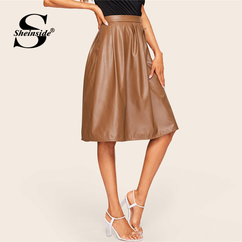 Sheinside Coffee Casual Mid Waist Pleated PU Leather Skirt Women 2019 Spring Solid A Line Skirts Ladies Minimalist Zipper Skirt