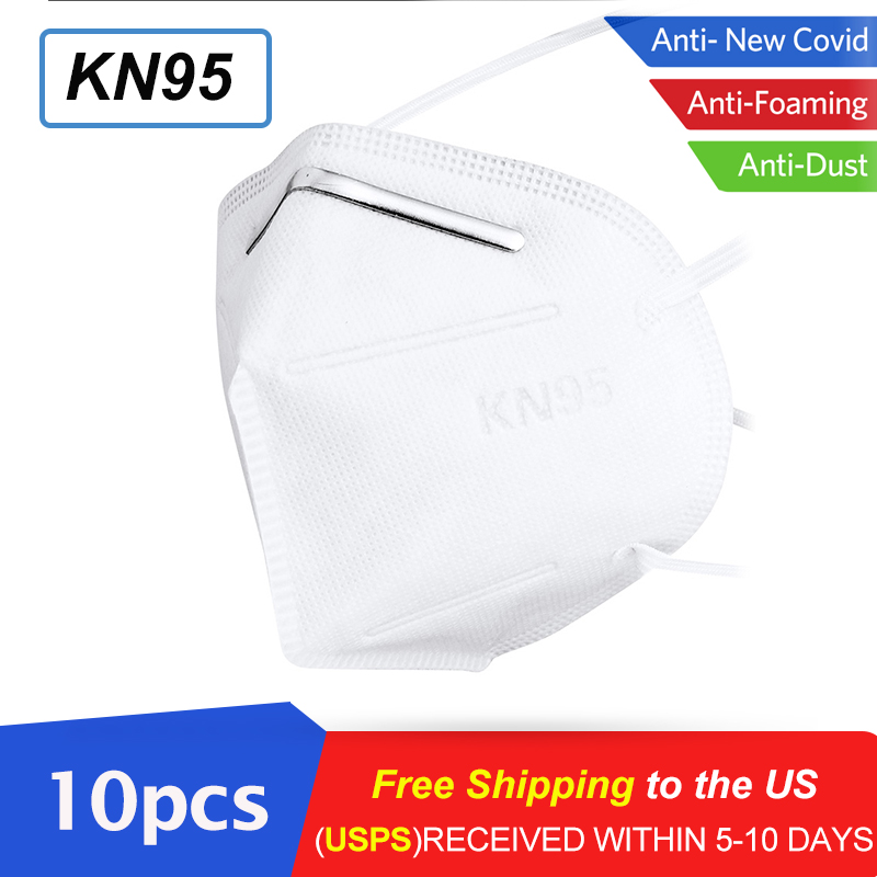 10pcs KN95 Gas Mask 95% Filtration PM2.5 Anti Dust Mask Respirator Personal Protective Shield Features As N95 KF94 FFP2 Masks