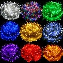 Guirnalda de luces LED para exteriores, 50M/400 M/100, resistente al agua, AC220V, vacaciones, Navidad, boda, fiesta