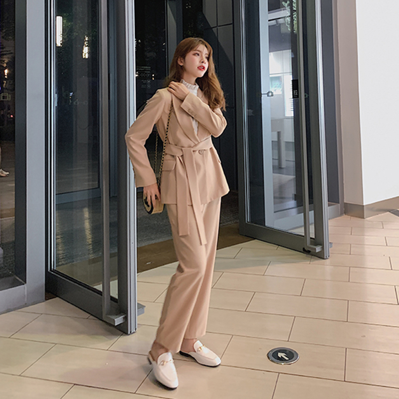 Autumn Winter Women Lace Up Pant Suit Notched Blazer Jacket & Pant Office Wear Suits Female Sets