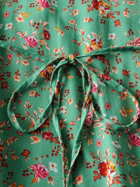 2020 BOHO Lacing up Collar Floral Print Pullover Shirt Women Elastic Waist Maxi Long Skirt Pink Holiday 2 Pieces Set 5