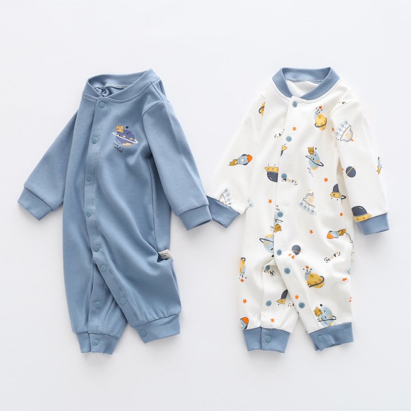 Baby autumn ha clothing cotton long sleeve double-sided jumpsuits infant children sleepwear