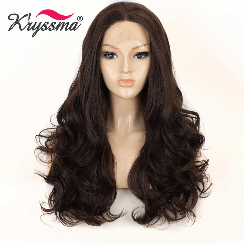 K'ryssma Dunkelbraun Synthetische Spitze Front Perücke Lange Wellenförmige Kastanien Perücken für Frauen Mit Baby Haar Glueless Natürliche Farbe Haar perücken