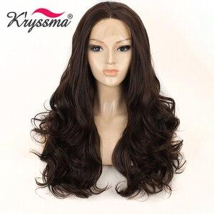 Kryryssma marrom escuro peruca dianteira do laço sintético longo ondulado chestnut perucas para as mulheres com cabelo do bebê glueless cor natural perucas de cabelo