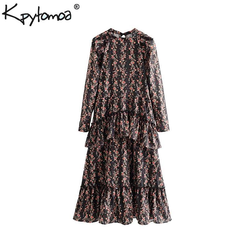 Vintage Stylish Floral Print Ruffled Midi Dress Women 2020 Fashion O Neck Long Sleeve Female Dresses Chic Vestidos Mujer