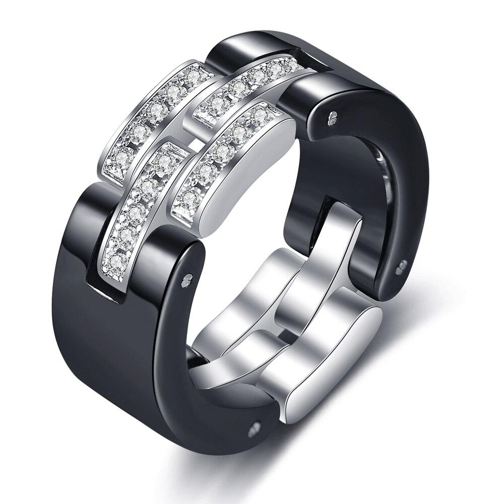 Brand Design Wedding Rings Middle Layer flexible  White Black Ceramic Rings With Zircon for Wedding Women Girls Gift 4