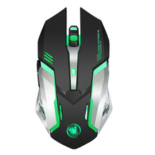 2400DPI 6 Buttons Gaming Mouse Breathing Light Rechargeable 2.4G Wireless Gamer Desktop Mice for PC Computer Laptop