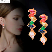 SINLEERY Bohemian Colorful Petal Long Drop Earrings Yellow Gold Color Pink Green Blue Zirconia Women Earrings Jewelry ES688 SSH(China)