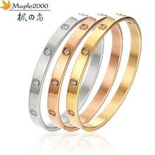 Модные Розовые золотые браслеты на запястье Браслет манжета