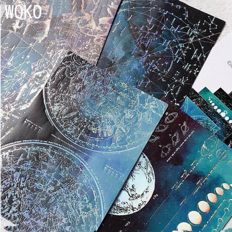 5pcs Bronzing Handbook Collage Background Retro Dream Planet Hot Silver Decoration Sticker DIY Scrapbooking Diary Album Escolar