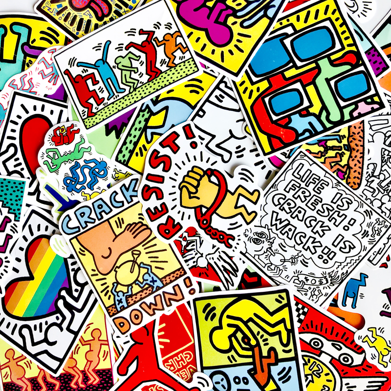 50Pcs Keith Haring Stickers For Snowboard Laptop Luggage Car Fridge Hydroflask Sticker Pegatina