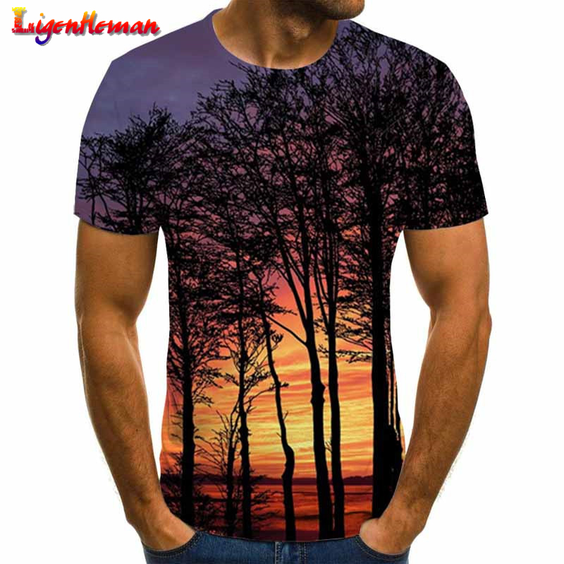 Mens Summer Fashion Printing T Shirt Short Sleeve Tops Casual Shirts
