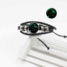 European and American hand-woven 12 constellation woven leather luminous bracelet vintage punk jewelry