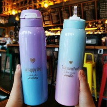 Hot sale 480ML Insulated Thermals Milk&coffee Cup18/8 Stainless Steel Thermos Straw Water Bottle Gradient Sports Vacuum Flask
