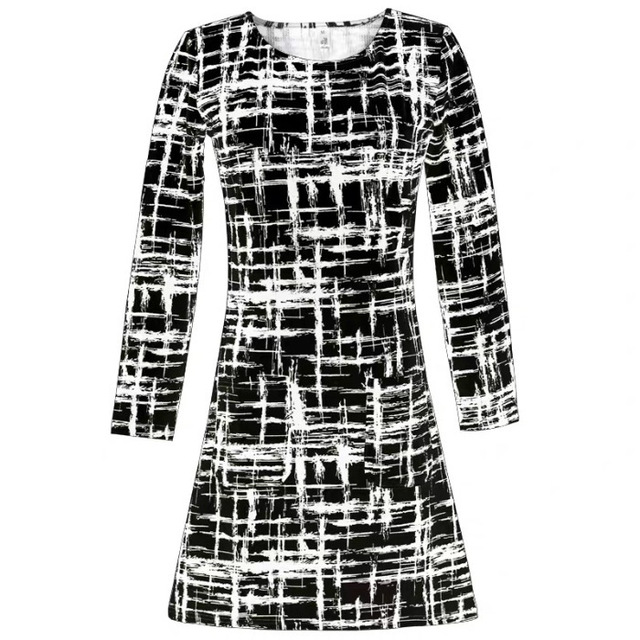 2020 Long Sleeve Plaid Casual Winter Autumn For Women O-Neck Black White Woman Party Night Mini Dress Plus Size Vestidos Dresses 6