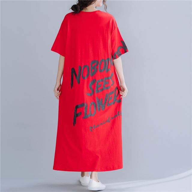 #1610 Red Midi Dress Women Short Sleeves Letter Printed Dress T-shirt Loose Cotton Side Split Casual Plus Size Dresses Summer 2