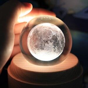 Image 3 - Caixa de música de madeira luminosa, caixa de música bluetooth com rotação, bola de cristal, música, lua com projetor, luz para aniversário, natal e ano novo, presente