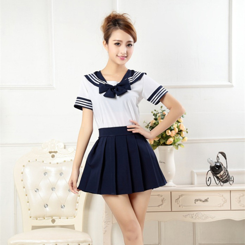 Japanese Style Student Girls School Uniform Sailor Shirt+pleated Skirt Set Woman Cosplay Costumes Sexy Navy JK Suit image