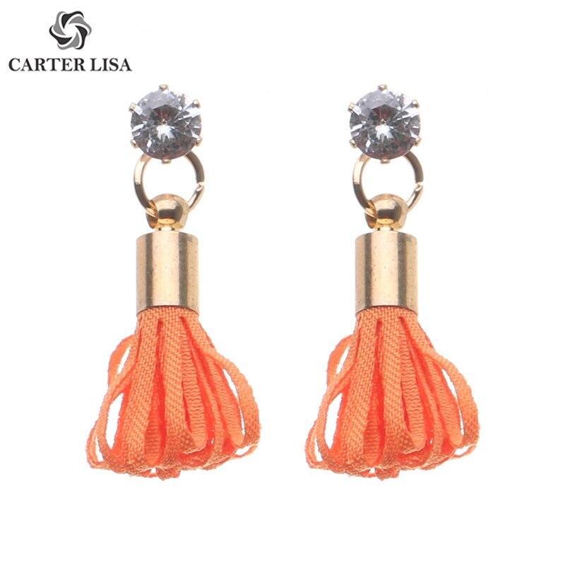 CARTER LISA 2019 New Unique Gold Color Chunky Orange Rope Strand Dangle Earrings For Women New Boho Earrings Jewelry HDEA-040