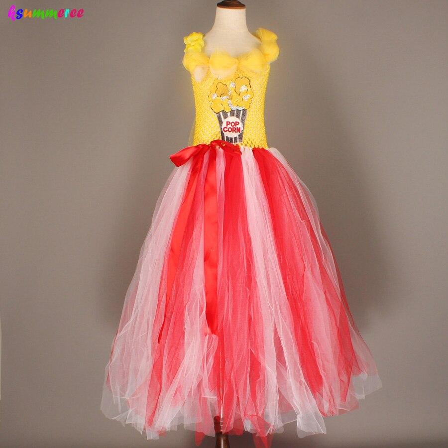 Adorable Popcorn Inspired Girls Tutu Dress Red & White Tulle Children Birthdays Halloween Dress Up Costume Kids Flower Ball Gown 5