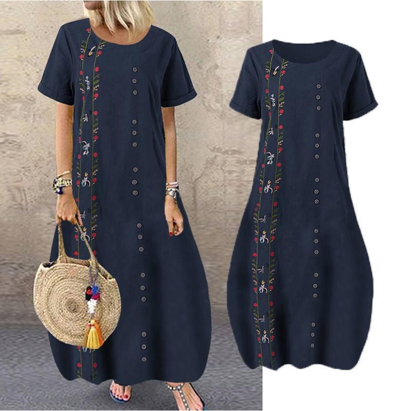 2020 Summer Sundress Women Embroidery Short Sleeve Vestidos Bohemian Flowers Dresses Cotton Linen Casual Dress Beach Party Robe