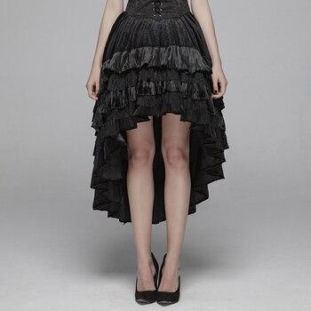 Панк рейв женская готическая темно зернистая бархатная половина юбка нерегулярные кружева Вечерние сценические женские юбки