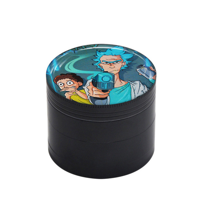 50MM Domed Sticker Rick and Morty Smoking grinder Zinc Alloy Metal Herb Grinder  4 Layers Tobacco Grinder Herb Crusher 10
