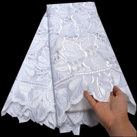 New arrivals WHITE high quality hand cut African Fabric lace for wedding 100% Cotton Swiss Voile Lace N8810