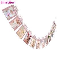 Cartel con marco de fotos de meses para niña, decoraciones para fiesta de primer cumpleaños, artículos para mesa My 1 año Diy, dorado, 12 Uds.