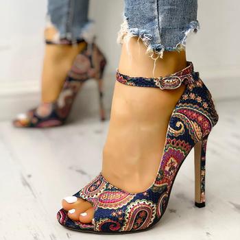 Nowe buty damskie szpilki pompy sandały moda lato seksowne panie zwiększone szpilki Super buty z odkrytymi palcami tanie i dobre opinie E CN Other Cienkie obcasy Super Wysokiej (8cm-up) Pasuje prawda na wymiar weź swój normalny rozmiar Pasek stawu skokowego