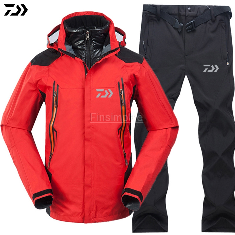 DAWA Fishing Clothing Sets Men Breathable Outdoor Sports Windproof Waterproof Clothes Fishing Jacket Pants Suit