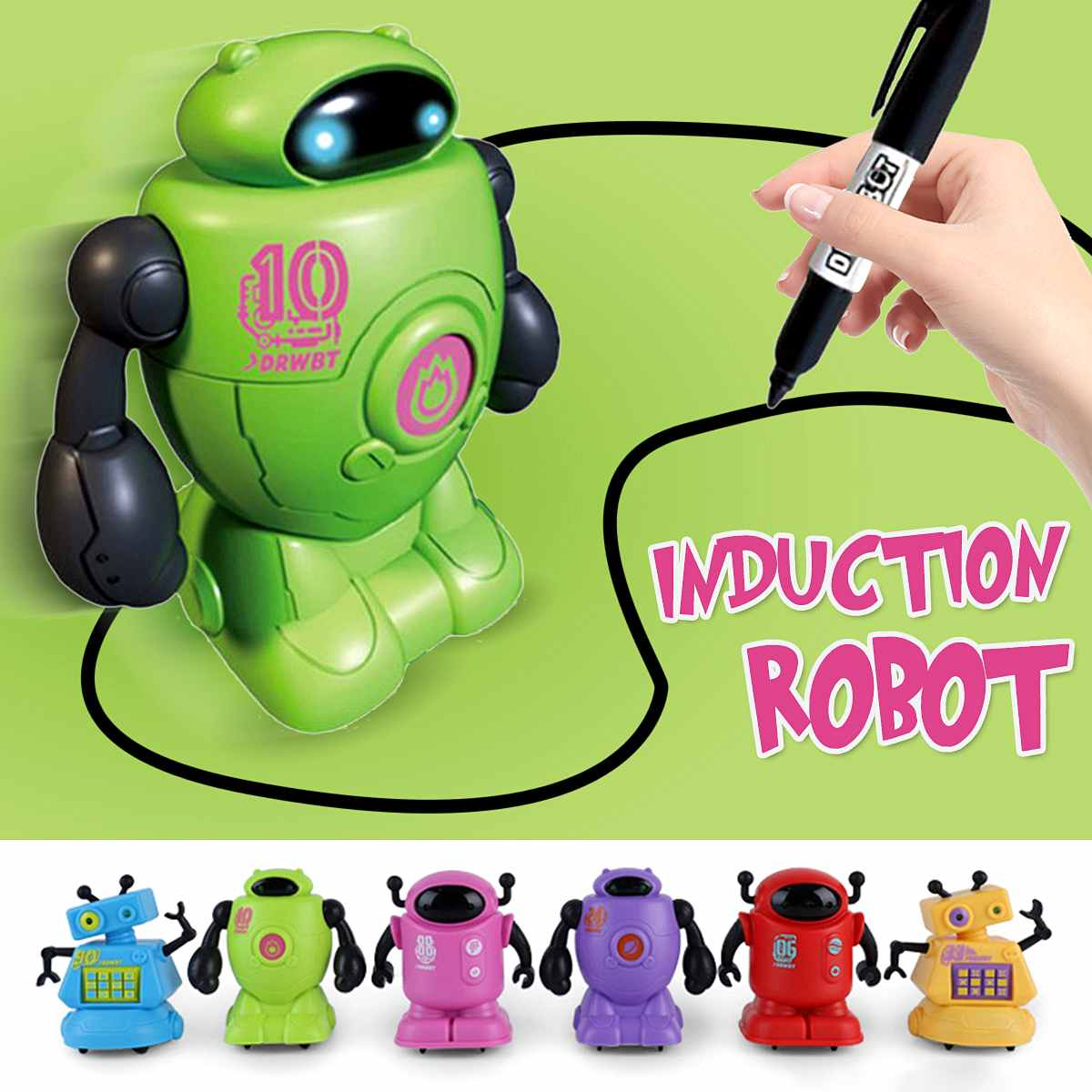 Creativity Original Inductive Electric Robot Car Line Magic Follower Pen Toy Follow Any Line You Draw Gifts Kids Educational Toy