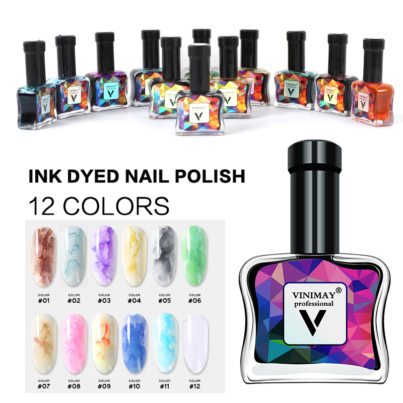 VINIMAY Watercolor Ink Gel Nail Polish Blooming Gel Magic Smudge Bubble Gel Nail DIY Varnish Manicure Decoration Nail Salon Set