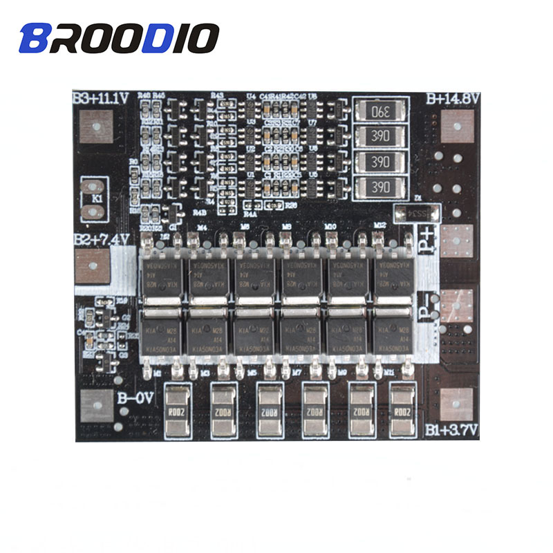 2S 3S 4S BMS 15A 20A 40A 50A 3.7V 18650 Li-ion Lithium Battery Protection Board BMS 3S 4S Circuit PCB Module With Balance image