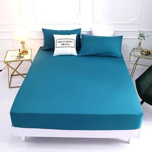 1 pçs 100% poliéster sólido cama colchão conjunto com quatro cantos e elástico folhas venda quente (fronhas precisa de pedido)