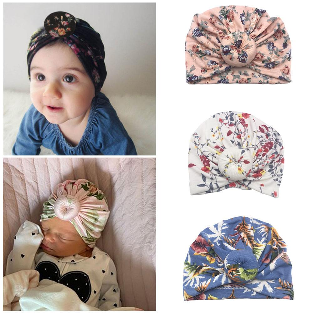 Caps Winter Hat Knitted Warm Newborn Baby-Girl Cute Flower Cotton Solid-Color