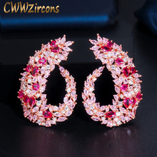 CWWZircons רוז זהב יוקרה פופולרי גיאומטריה פרח רב צבע מעוקב Zirconia גדול חתונה עגיל אופנה מפורסם תכשיטי CZ415