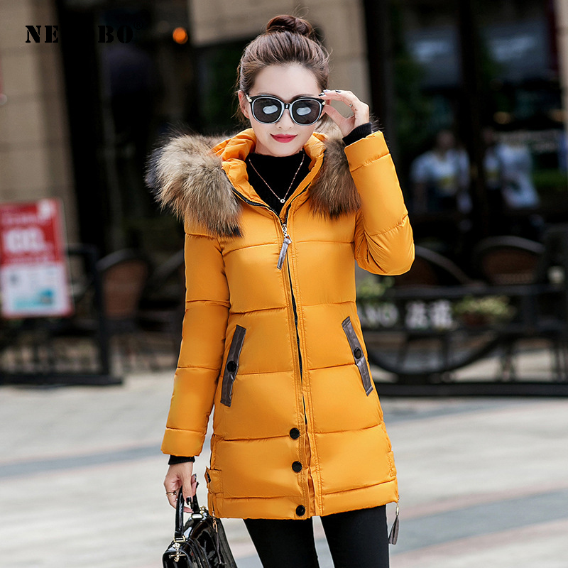 NEEDBO Down Jacket Women Long Winter Down Coat Fur Collar Slim Oversize Doudoune Femme Jacket Coat Lady Down Parka Long Coat