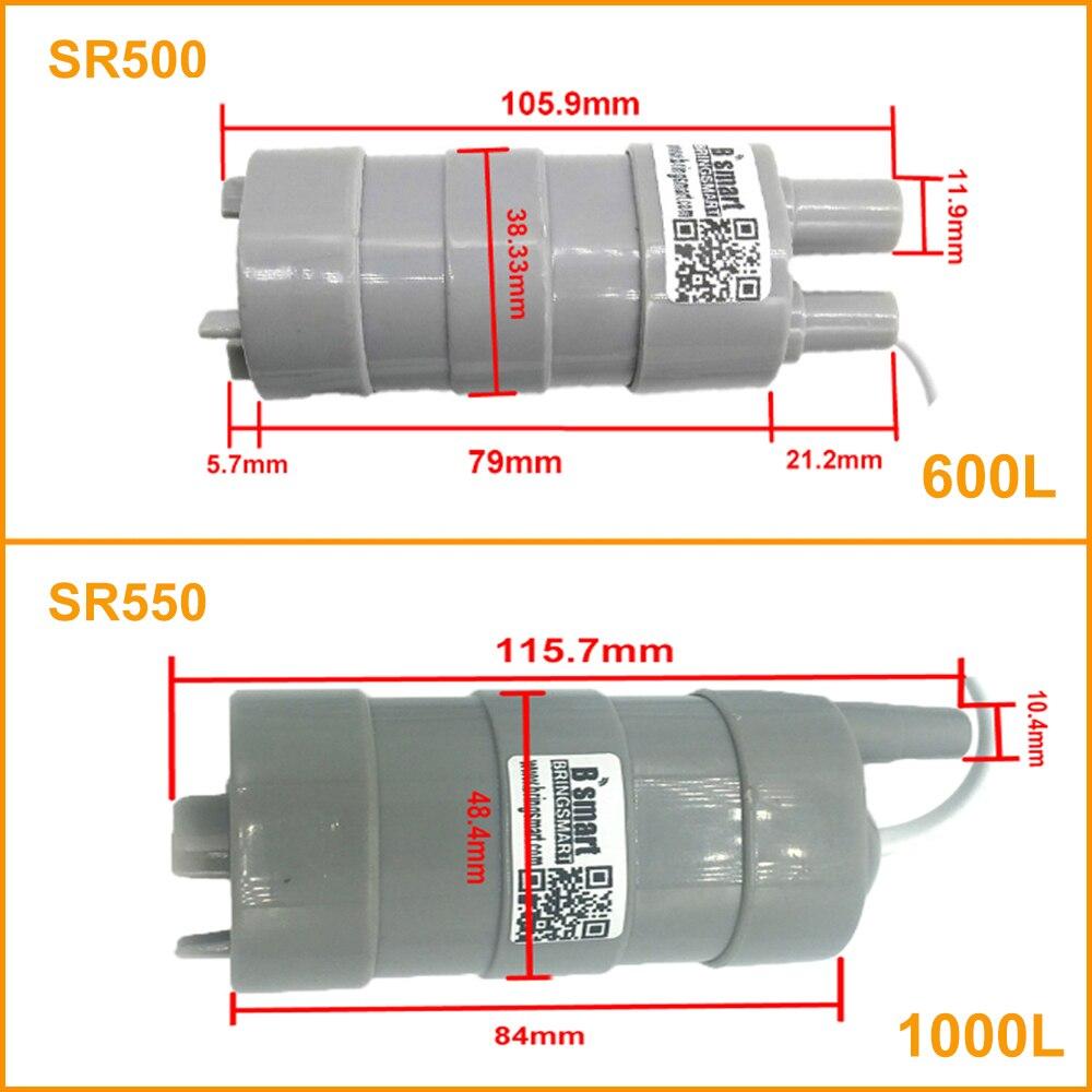 12 v 24 v 600l/h 1000l/h bomba de água submersível de alta pressão da c.c. sr500 sr550 micro bomba de água do motor de três fios com adaptador