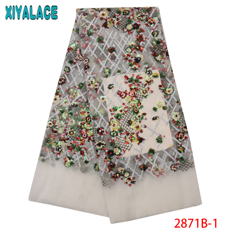New Arrival Sequins Lace Fabrics African Nigerian Tulle Mesh Lace Fabric For Wedding French Lace Fabrics With Sequins KS2871B-1