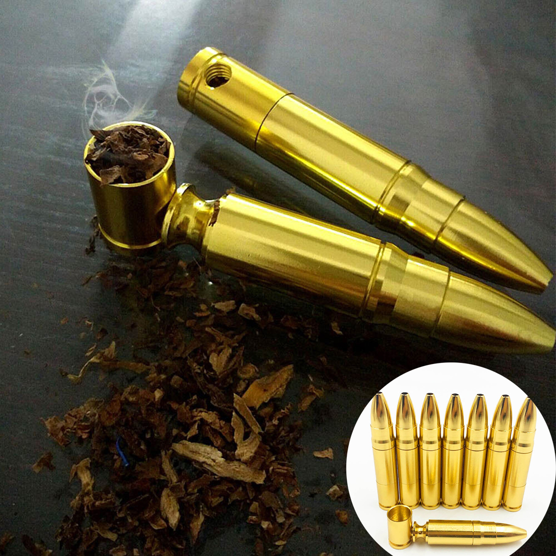 1x Portable Metal Aluminum Smoking Pipe Pocket Smoke Pipes Bullet Shaped Rocket Obacco Pipe Smoking Mini Metal Screw Gif