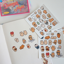 Ins Cartoon Funny Bear Labels Cute Stickers Creative Waterproof Hand Book Laptops Cup Decorative Sealing Sticker Diy Stationery