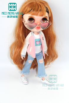 1pcs Blyth Doll Clothes Fashion pink jacket, vest, hole jeans for , Azone 1/6 doll accessories