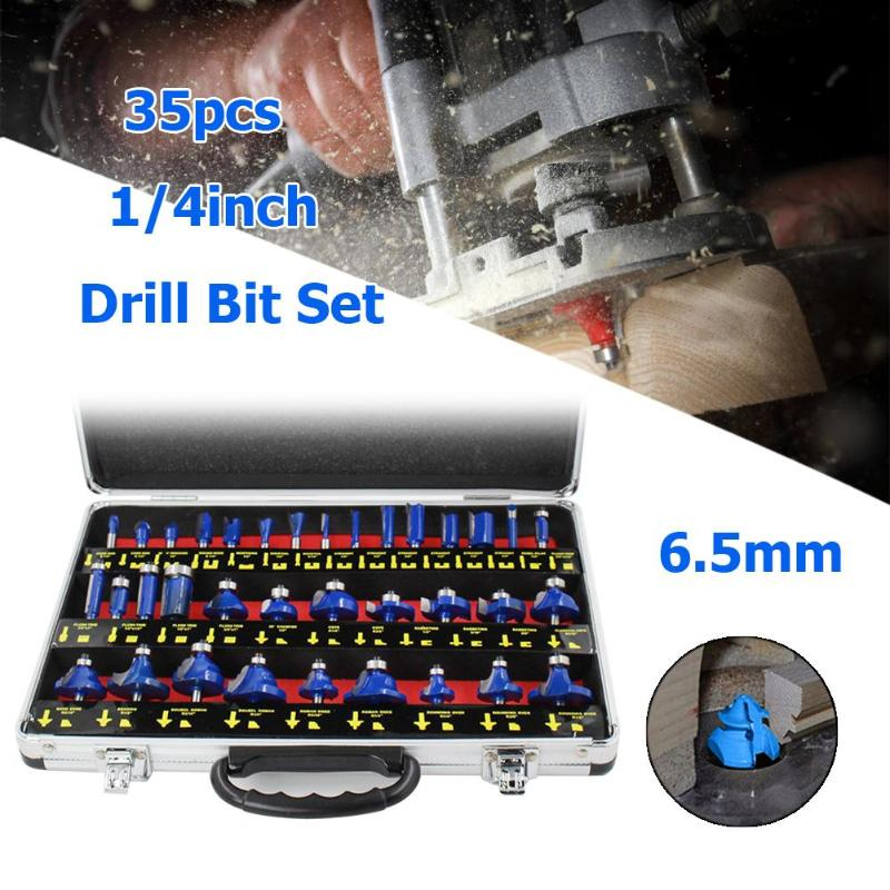 35pcs 1/4in Handle Wood Router Bit Mill Engraving Trim Woodworking Milling Cutter Trimmer Adapter Machine Tools Set Router Bits