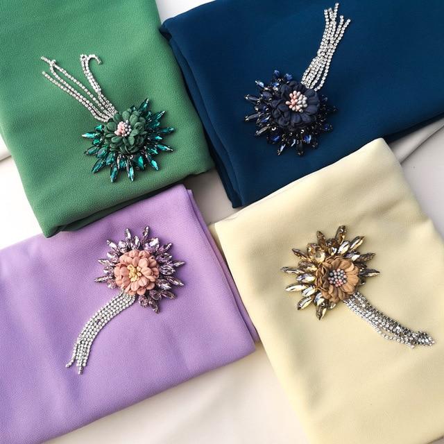 Женский шифоновый хиджаб ручной работы с цветами и кристаллами, шарфы, шаль, шарфы из Дубая, Малайзии, головные уборы, платок, простой шарф, шарфы с драгоценными камнями